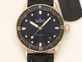 顶级复刻手表宝珀男款黑盘黑带尼龙带五十寻系列腕表