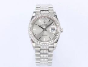 EW劳力士高仿手表男款灰盘钢带日志型系列真金真钻自动机械手表
