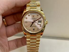 顶级复刻手表劳力士男款金盘金钢带日志型 36mm南非真钻手表