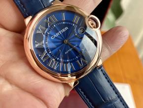 顶级原单手表卡地亚男款蓝盘蓝带蓝气球系列全自动机械皮带手表