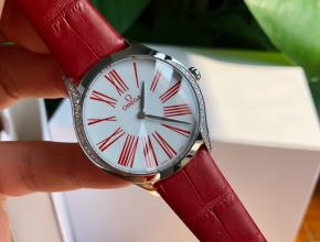 顶级原单手表欧米茄女款白盘红带石英皮带蝶飞系列真金真钻手表
