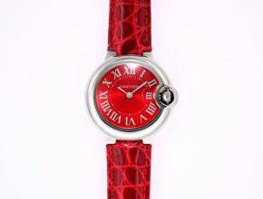 卡地亚女款红盘红带蓝气球皮带手表