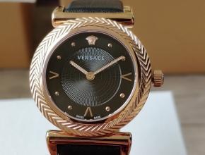 顶级原单手表范思哲石英女款黑盘VCQ系列皮带手表