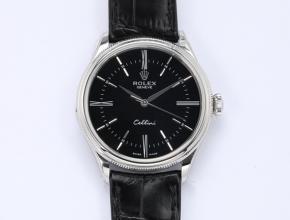 顶级复刻手表劳力士男款黑盘黑带切利尼系列自动机械皮带手表