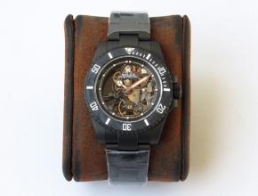 顶级精仿手表劳力士男款黑盘钢带全镂空潜航者系列机械手表