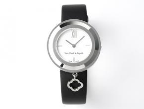 梵克雅宝女款白盘黑带石英皮带手表