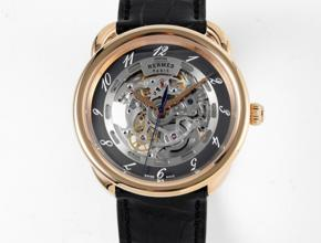 顶级复刻手表爱马仕男款灰盘黑带自动机械皮带腕表