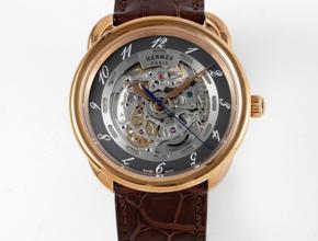 顶级复刻手表爱马仕男款灰盘棕带复古腕表