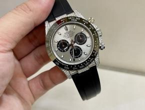 劳力士复刻表女款灰盘橡胶带真金真钻18k白金机械手表
