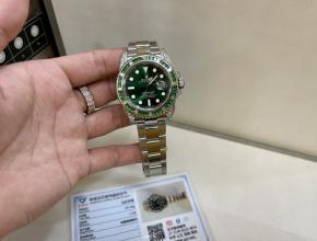 劳力士精仿表女款绿盘钢带绿水鬼系列真金真钻机械手表