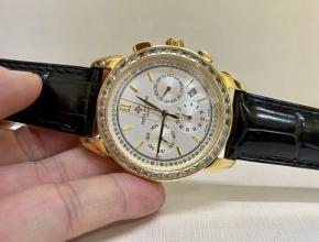 顶级复刻手表百达翡丽女款白盘黑带复杂计时功能系列皮带手表