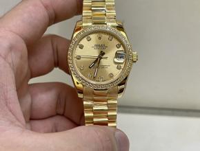 顶级复刻手表劳力士女款金钢带南非真钻日志型31mm手表