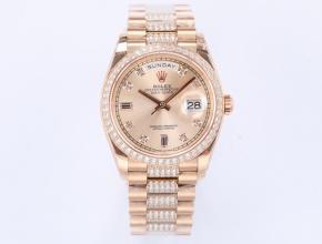 EW顶级复刻手表劳力士男款金盘钢带星期日志型机械新品手表