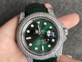 顶级复刻手表劳力士男款绿盘绿带全自动机械潜航者系列皮带手表
