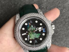 顶级复刻手表劳力士男款黑盘绿带自动机械皮带v3版潜航者系列手表