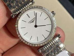 顶级复刻手表浪琴女款白盘钢带嘉岚系列休闲时尚女士石英手表