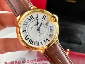 顶级原单手表卡地亚男款白盘棕带蓝气球系列18k玫瑰金自动机械皮带手表