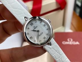 顶级原单手表欧米茄女款白盘白带真金真钻石英蝶飞系列石英皮带手表