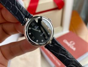 顶级原单手表欧米茄女款黑盘黑带真金真钻石英碟飞系列皮带手表