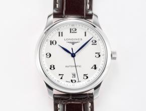 浪琴男款白盘棕带全新名匠系列皮带机械手表