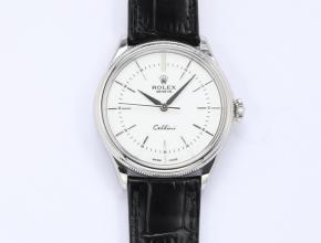 顶级精仿手表劳力士切利尼系列男款白盘自动机械皮带手表