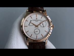 TWS江诗丹顿顶级高仿表男款白盘棕带机械圆形皮带传袭系列手表