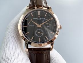 TWS江诗丹顿复刻手表男款黑盘棕带传袭系列机械皮带圆形手表