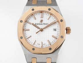 8F爱彼高仿表女款白盘钢带34毫米皇家橡树自动机械手表