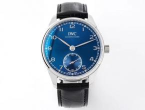ZF万国精仿手表男款蓝盘黑带葡萄牙系列自动机械皮带手表