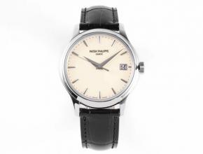ZF顶级复刻手表百达翡丽男款白盘黑带机械古典系列皮带手表