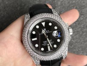 顶级复刻手表劳力士男款黑盘黑带潜航者系列全自动机械皮带手表