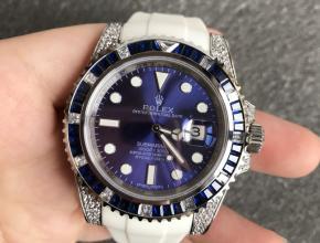 顶级复刻手表劳力士男款蓝盘橡胶带潜航者系列v3版本自动机械手表