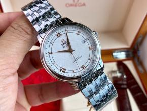 顶级原单手表欧米茄男款白盘钢带自动机械蝶飞系列手表