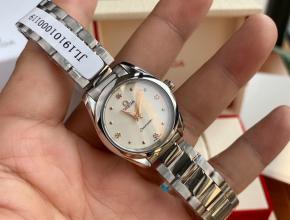 顶级原单手表欧米茄真金真钻女款海马系列石英手表