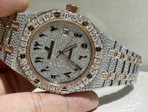 顶级复刻手表爱彼男款灰盘钢带真金真钻手表