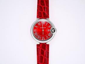 卡地亚女款红盘红带蓝气球系列石英皮带手表
