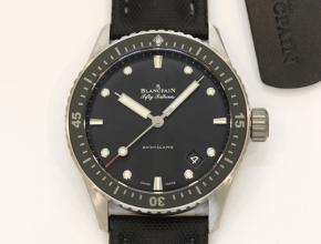 顶级复刻手表宝珀五十寻系列男款黑盘黑带自动机械腕表