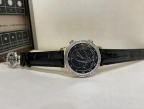 百达翡丽顶级精仿表男款黑盘黑带南非T方钻皮带手表