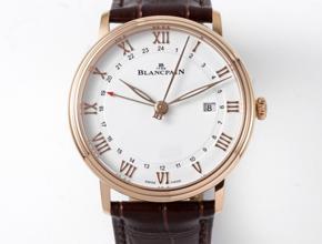 顶级复刻手表宝珀男款白盘棕带经典系列皮带腕表