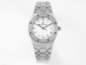 8F爱彼顶级精仿表女款白盘34毫米自动机械皇家橡树钢带手表