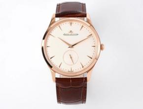 ZF积家精仿表女款白盘棕带超薄大师系列小秒针石英皮带手表