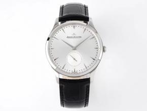 ZF积家顶级精仿表女款白盘黑带大师系列超薄款小秒针石英皮带手表