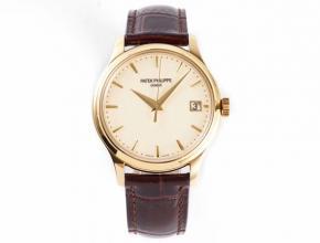 ZF顶级复刻手表百达翡丽那里白盘棕带古典系列皮带机械手表