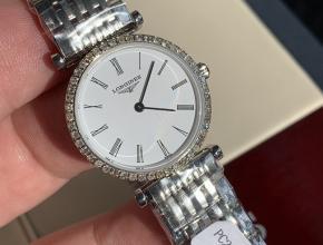 顶级复刻手表浪琴女款白盘钢带休闲时尚石英嘉岚系列手表