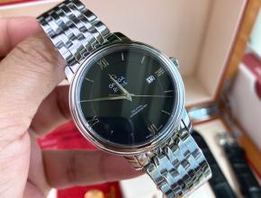 顶级原单手表欧米茄黑盘钢带自动机械蝶飞系列男款手表