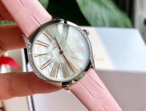 顶级原单手表欧米茄女款白盘粉带蝶飞名典系列真金真钻石英皮带手表