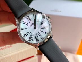 顶级 原单手表欧米茄白盘黑带真金真钻蝶飞系列女款石英手表