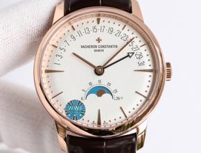 顶级复刻手表江诗丹顿男款白盘棕带传承系列腕表