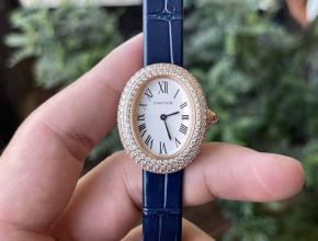 顶级精仿手表卡地亚女款白盘蓝带浴缸系列石英皮带手表