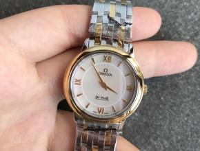 DK欧米茄高仿手表女款白盘金钢带新款石英蝶飞系列手表